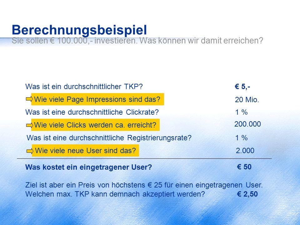 Berechnungsbeispiel Sie sollen € 100.000,- investieren. Was können wir damit erreichen? Was ist ein durchschnittlicher TKP? Was ist eine durchschnittl