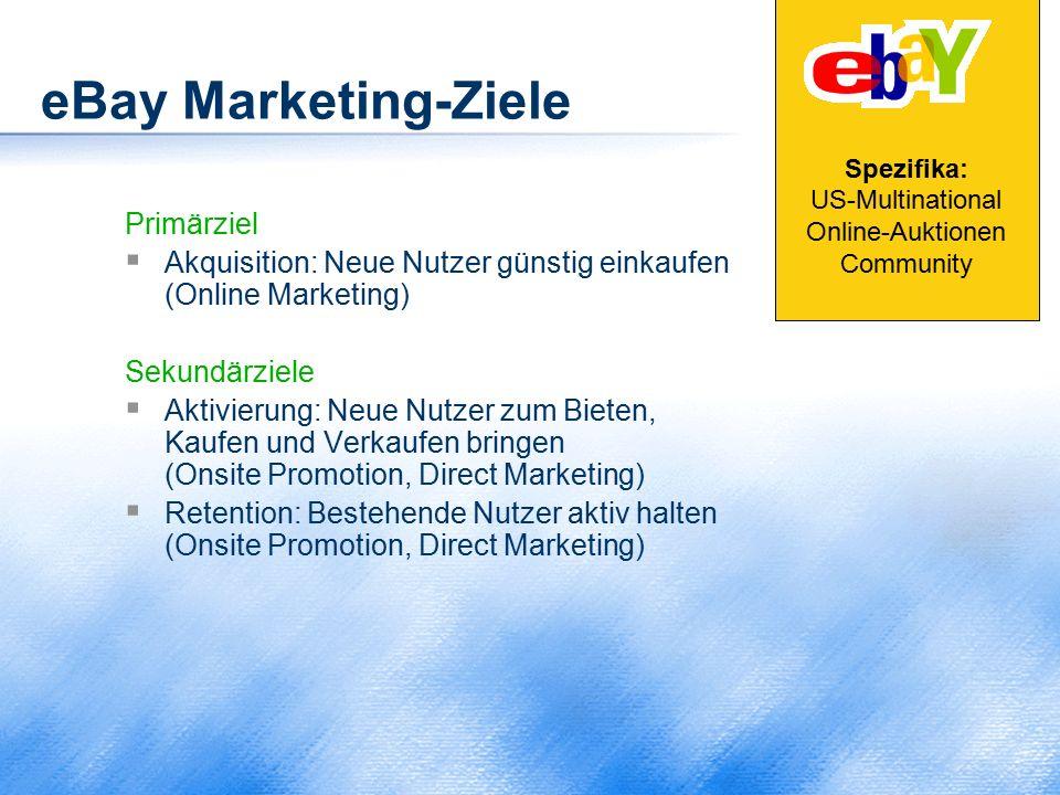 eBay Marketing-Ziele Primärziel  Akquisition: Neue Nutzer günstig einkaufen (Online Marketing) Sekundärziele  Aktivierung: Neue Nutzer zum Bieten, K