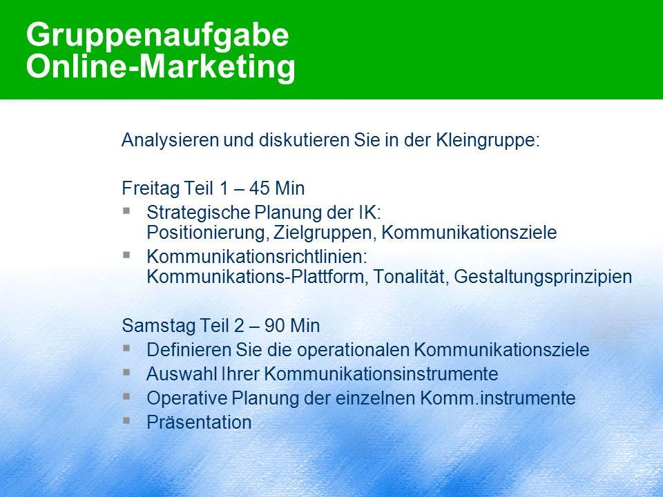 Gruppenaufgabe Online-Marketing Analysieren und diskutieren Sie in der Kleingruppe: Freitag Teil 1 – 45 Min  Strategische Planung der IK: Positionier