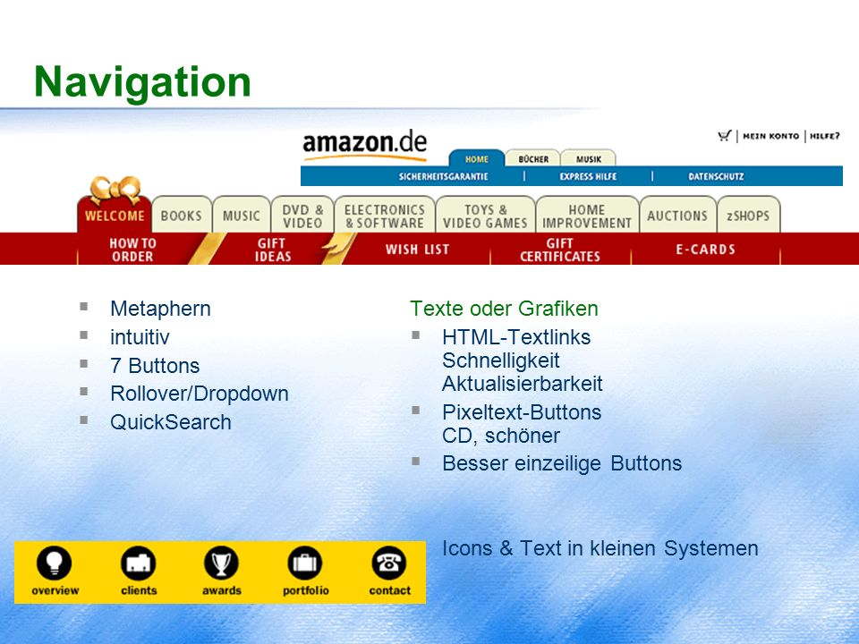 Navigation  Metaphern  intuitiv  7 Buttons  Rollover/Dropdown  QuickSearch Texte oder Grafiken  HTML-Textlinks Schnelligkeit Aktualisierbarkeit