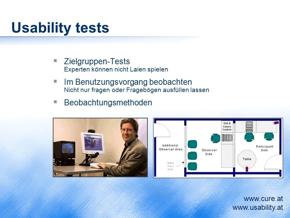 Usability tests  Zielgruppen-Tests Experten können nicht Laien spielen  Im Benutzungsvorgang beobachten Nicht nur fragen oder Fragebögen ausfüllen l