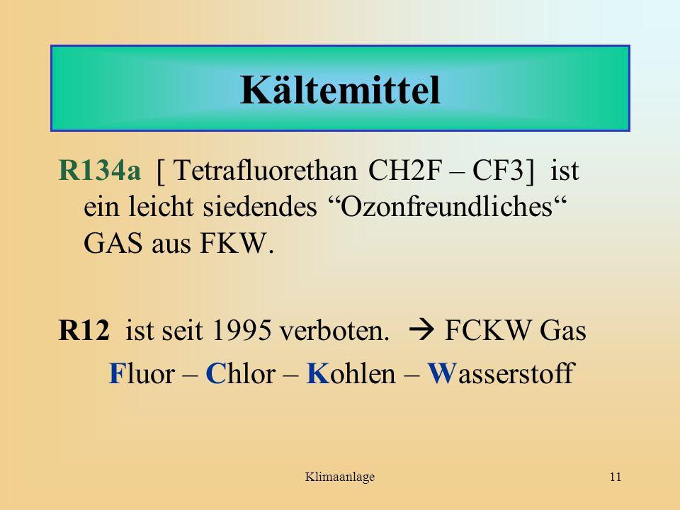 """Klimaanlage11 Kältemittel R134a [ Tetrafluorethan CH2F – CF3] ist ein leicht siedendes """"Ozonfreundliches"""" GAS aus FKW. R12 ist seit 1995 verboten.  F"""