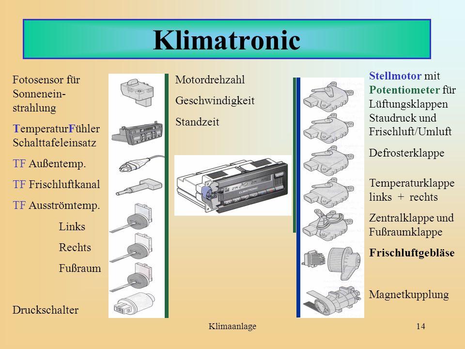 Klimaanlage14 Klimatronic Fotosensor für Sonnenein- strahlung TemperaturFühler Schalttafeleinsatz TF Außentemp. TF Frischluftkanal TF Ausströmtemp. Li