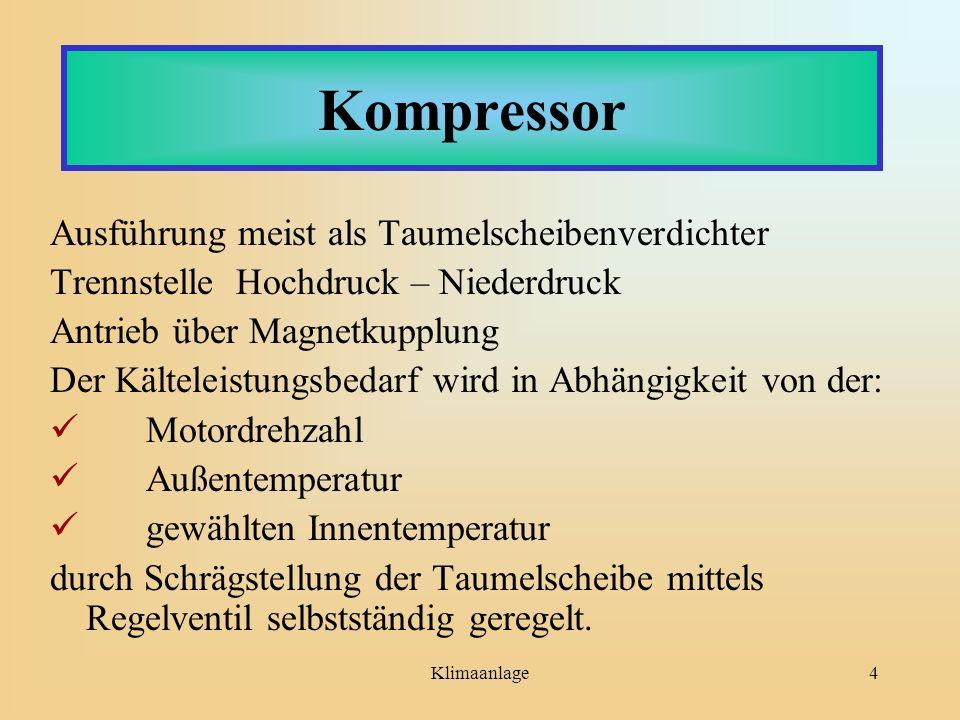 Klimaanlage4 Kompressor Ausführung meist als Taumelscheibenverdichter Trennstelle Hochdruck – Niederdruck Antrieb über Magnetkupplung Der Kälteleistun