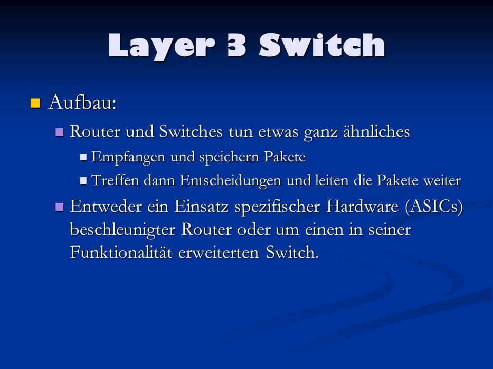 Layer 3 Switch Aufbau: Aufbau: Router und Switches tun etwas ganz ähnliches Router und Switches tun etwas ganz ähnliches Empfangen und speichern Paket