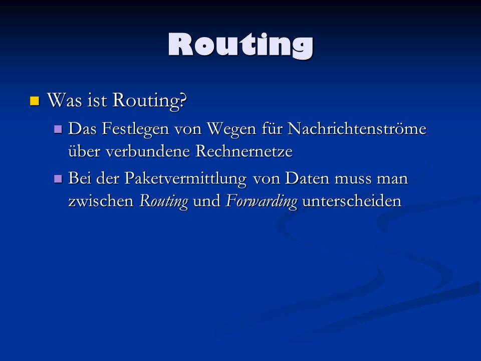 Routing Routing von Packeten: Routing von Packeten: Bei der Paketvermittlung, wird dafür gesorgt, das Logische adressierte Pakete aus dem Ursprungs- Netz herausgekommen und in Richtung ihres Ziel- Netzes weitergeleitet werden.