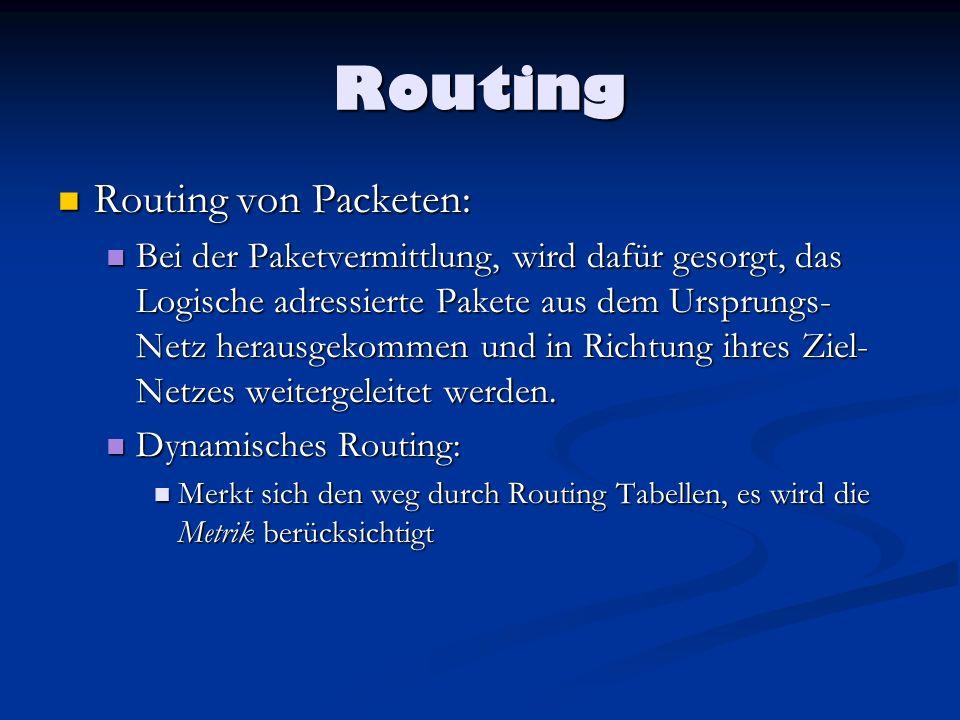 Routing Routing von Packeten: Routing von Packeten: Bei der Paketvermittlung, wird dafür gesorgt, das Logische adressierte Pakete aus dem Ursprungs- N