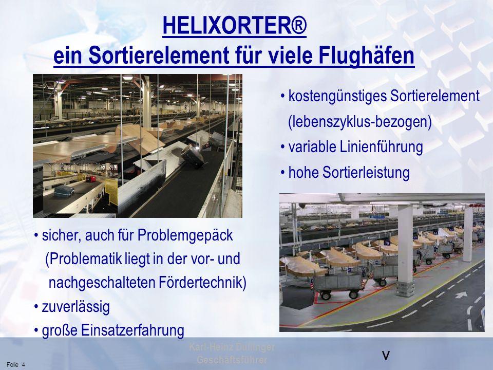 v Folie 4 Karl-Heinz Dullinger Geschäftsführer HELIXORTER® ein Sortierelement für viele Flughäfen kostengünstiges Sortierelement (lebenszyklus-bezogen