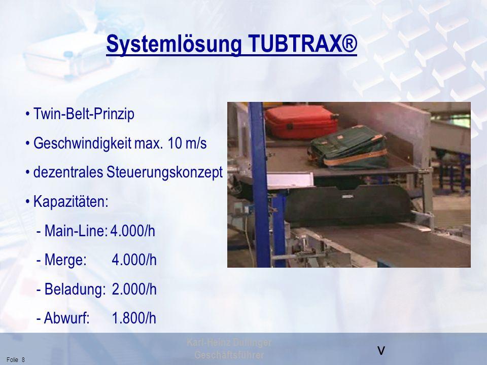v Folie 8 Karl-Heinz Dullinger Geschäftsführer Systemlösung TUBTRAX® Twin-Belt-Prinzip Geschwindigkeit max. 10 m/s dezentrales Steuerungskonzept Kapaz