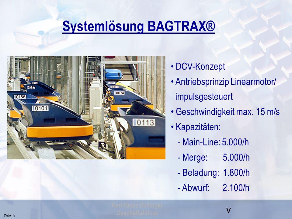 v Folie 9 Karl-Heinz Dullinger Geschäftsführer Systemlösung BAGTRAX® DCV-Konzept Antriebsprinzip Linearmotor/ impulsgesteuert Geschwindigkeit max. 15