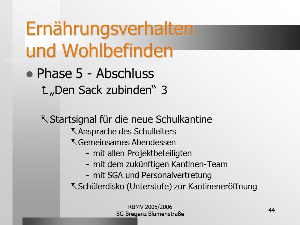 """RBMV 2005/2006 BG Bregenz Blumenstraße 44 Ernährungsverhalten und Wohlbefinden Phase 5 - Abschluss  """"Den Sack zubinden"""" 3  Startsignal für die neue"""