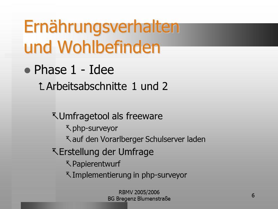 RBMV 2005/2006 BG Bregenz Blumenstraße 6 Ernährungsverhalten und Wohlbefinden Phase 1 - Idee  Arbeitsabschnitte 1 und 2  Umfragetool als freeware  php-surveyor  auf den Vorarlberger Schulserver laden  Erstellung der Umfrage  Papierentwurf  Implementierung in php-surveyor