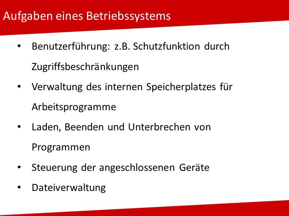 Aufgaben eines Betriebssystems Benutzerführung: z.B. Schutzfunktion durch Zugriffsbeschränkungen Verwaltung des internen Speicherplatzes für Arbeitspr