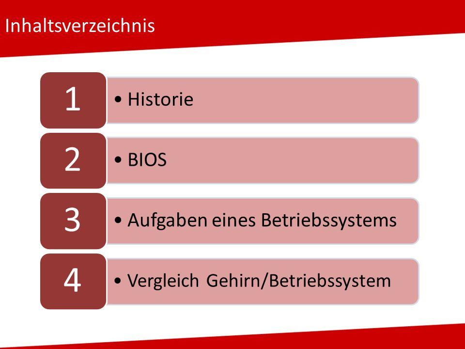 Inhaltsverzeichnis Historie 1 BIOS 2 Aufgaben eines Betriebssystems 3 Vergleich Gehirn/Betriebssystem 4