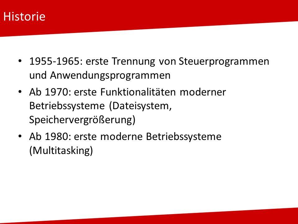 Historie 1955-1965: erste Trennung von Steuerprogrammen und Anwendungsprogrammen Ab 1970: erste Funktionalitäten moderner Betriebssysteme (Dateisystem