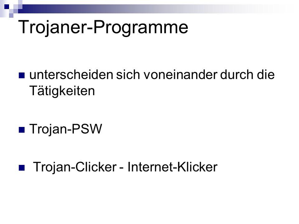 Trojaner-Programme unterscheiden sich voneinander durch die Tätigkeiten Trojan-PSW Trojan-Clicker - Internet-Klicker