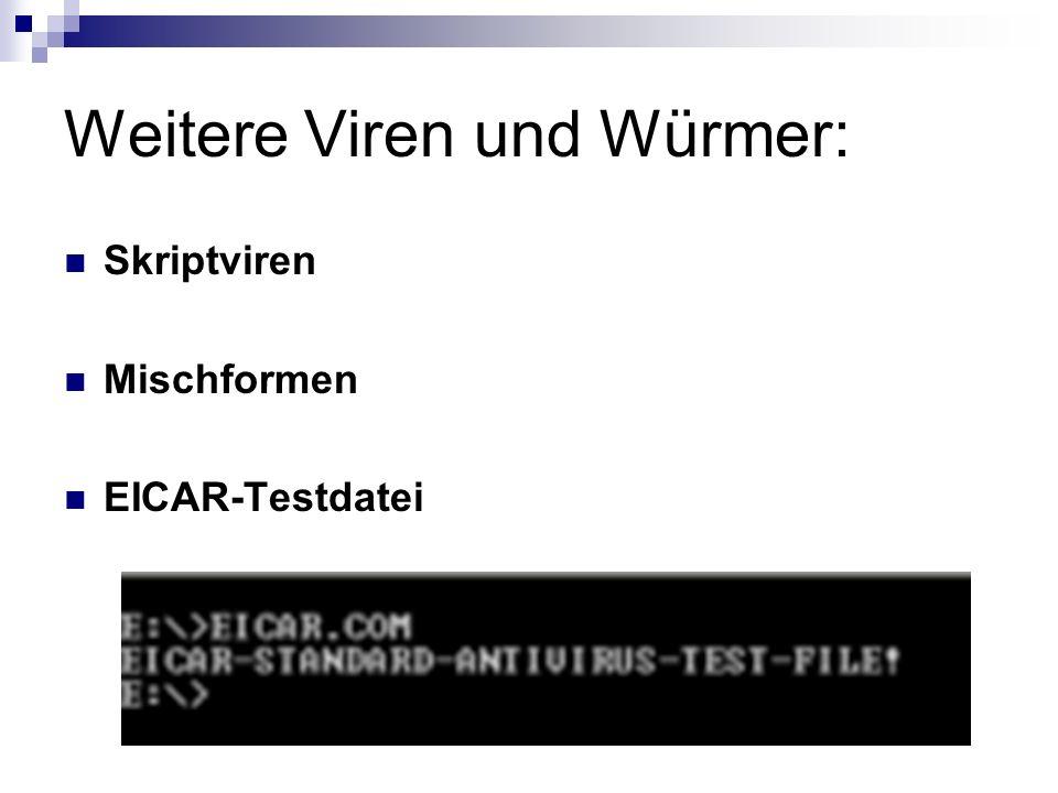 Weitere Viren und Würmer: Skriptviren Mischformen EICAR-Testdatei