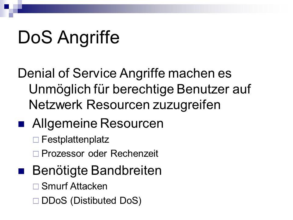 DoS Angriffe Denial of Service Angriffe machen es Unmöglich für berechtige Benutzer auf Netzwerk Resourcen zuzugreifen Allgemeine Resourcen  Festplat