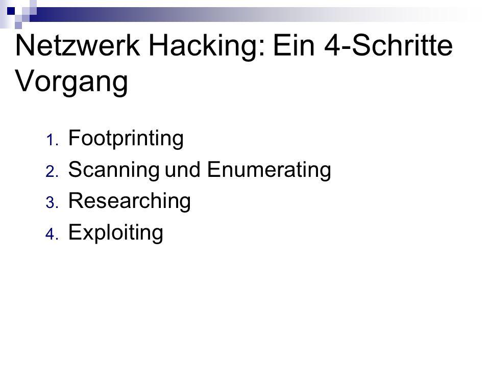 Netzwerk Hacking: Ein 4-Schritte Vorgang 1. Footprinting 2. Scanning und Enumerating 3. Researching 4. Exploiting