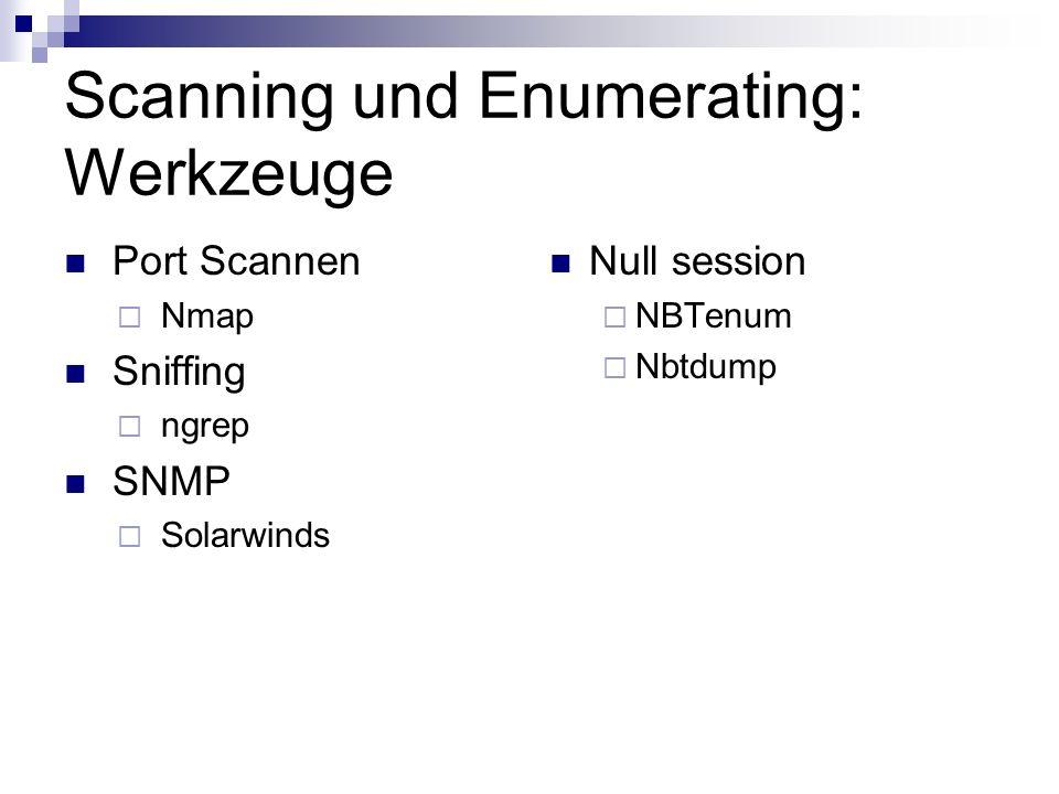 Scanning und Enumerating: Werkzeuge Port Scannen  Nmap Sniffing  ngrep SNMP  Solarwinds Null session  NBTenum  Nbtdump