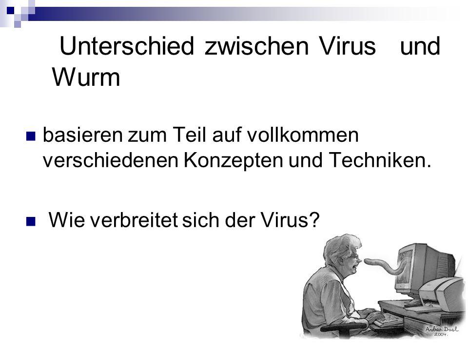 Unterschied zwischen Virus und Wurm basieren zum Teil auf vollkommen verschiedenen Konzepten und Techniken. Wie verbreitet sich der Virus?