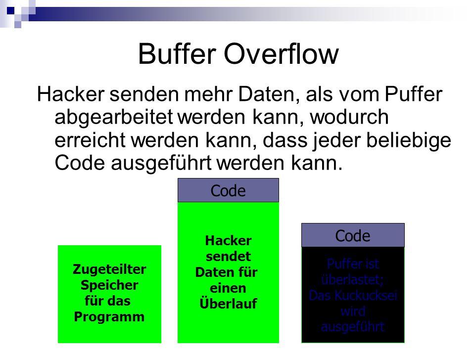 Buffer Overflow Hacker senden mehr Daten, als vom Puffer abgearbeitet werden kann, wodurch erreicht werden kann, dass jeder beliebige Code ausgeführt