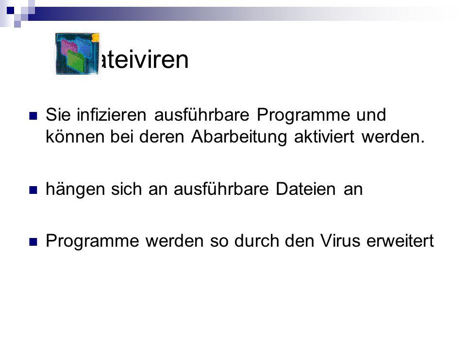Dateiviren Sie infizieren ausführbare Programme und können bei deren Abarbeitung aktiviert werden. hängen sich an ausführbare Dateien an Programme wer