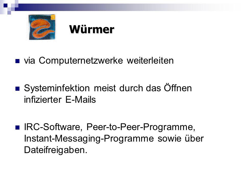 via Computernetzwerke weiterleiten Systeminfektion meist durch das Öffnen infizierter E-Mails IRC-Software, Peer-to-Peer-Programme, Instant-Messaging-