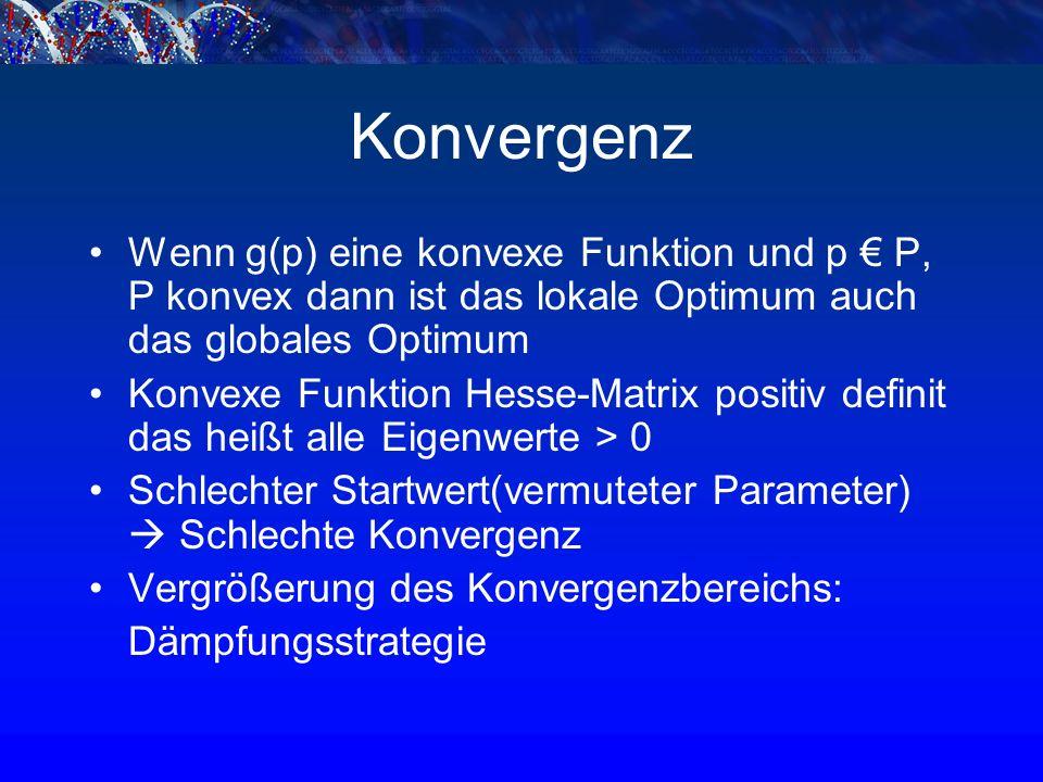 Konvergenz Wenn g(p) eine konvexe Funktion und p € P, P konvex dann ist das lokale Optimum auch das globales Optimum Konvexe Funktion Hesse-Matrix positiv definit das heißt alle Eigenwerte > 0 Schlechter Startwert(vermuteter Parameter)  Schlechte Konvergenz Vergrößerung des Konvergenzbereichs: Dämpfungsstrategie