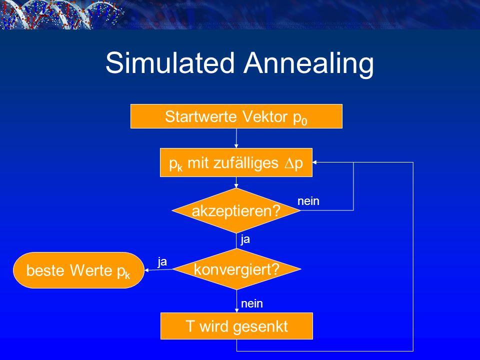 Simulated Annealing Startwerte Vektor p 0 p k mit zufälliges  p T wird gesenkt akzeptieren.