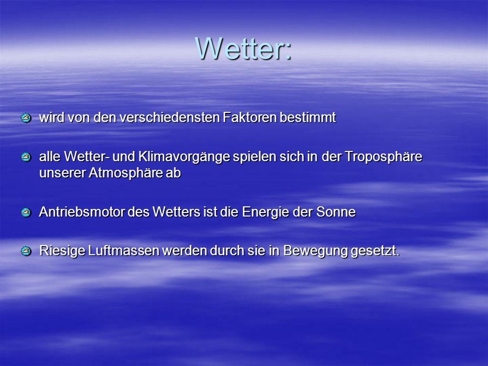 Wetter: wird von den verschiedensten Faktoren bestimmt alle Wetter- und Klimavorgänge spielen sich in der Troposphäre unserer Atmosphäre ab Antriebsmo