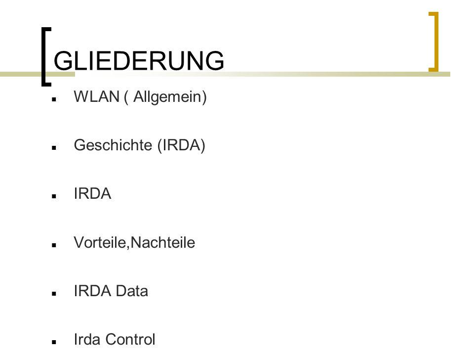 GLIEDERUNG WLAN ( Allgemein) Geschichte (IRDA) IRDA Vorteile,Nachteile IRDA Data Irda Control