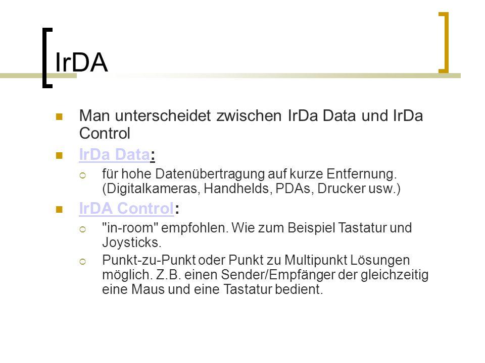 IrDA Data Protokolle IrDA Data Protokolle:  PHY (Physical Signaling Layer) PHY (Physical Signaling Layer)  IrLAP (Link Access Protocol) IrLAP (Link Access Protocol)  IrLMP (Link Management Protocol and Information Access Service (IAS)) IrLMP (Link Management Protocol and Information Access Service (IAS))
