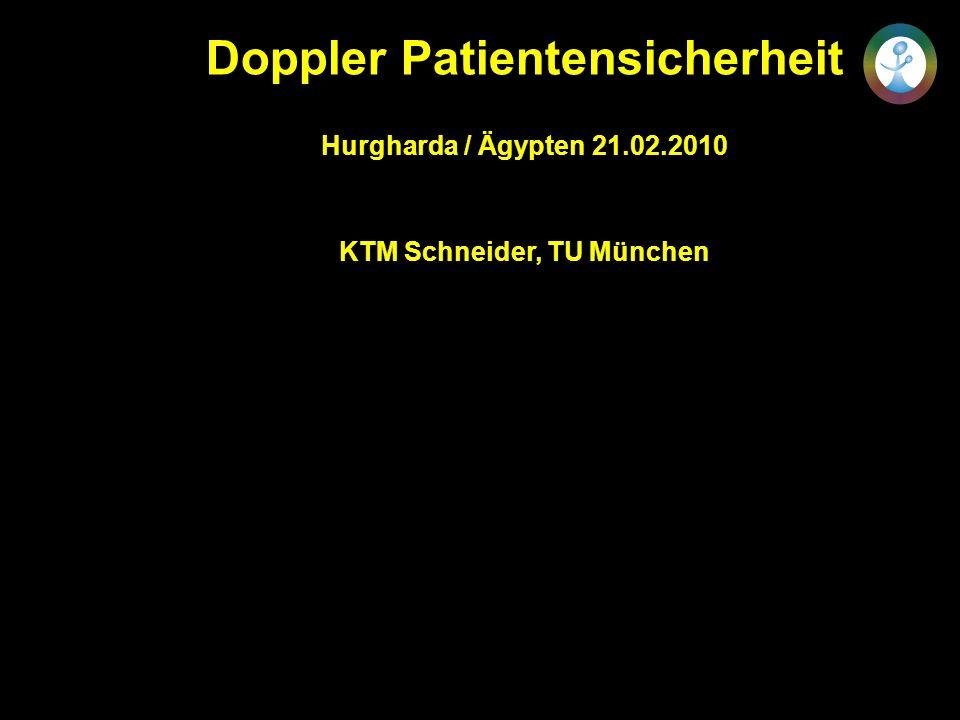 Dopplersonographie und Patientensicherheit Potentielle Thermoschäden Temperaturerhöhungen >= 4 Grad (=41 o C) >= 5 Min sind für das ZNS gefährlich Mikrozephalie Mikrophtalmie Exenzephalie Enzephalozele