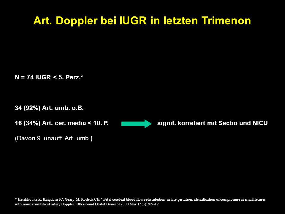 N = 74 IUGR < 5. Perz.* 34 (92%) Art. umb. o.B.