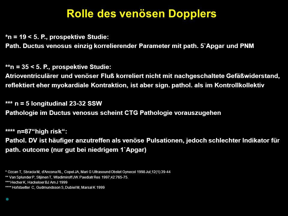 Rolle des venösen Dopplers *n = 19 < 5. P., prospektive Studie: Path.
