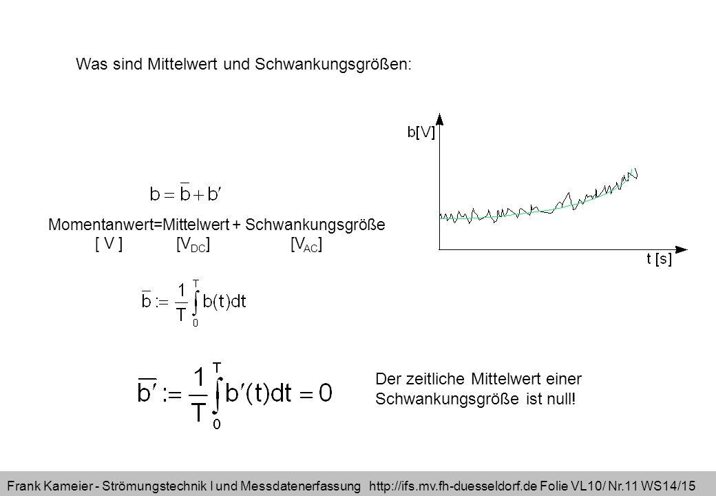 Frank Kameier - Strömungstechnik I und Messdatenerfassung http://ifs.mv.fh-duesseldorf.de Folie VL10/ Nr.11 WS14/15 Momentanwert=Mittelwert + Schwankungsgröße [ V ] [V DC ] [V AC ] Was sind Mittelwert und Schwankungsgrößen: Der zeitliche Mittelwert einer Schwankungsgröße ist null!