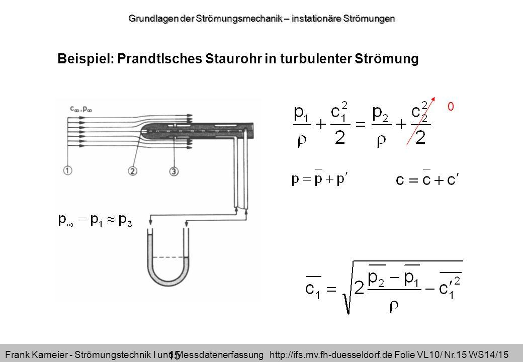 Frank Kameier - Strömungstechnik I und Messdatenerfassung http://ifs.mv.fh-duesseldorf.de Folie VL10/ Nr.15 WS14/15 Beispiel: Prandtlsches Staurohr in