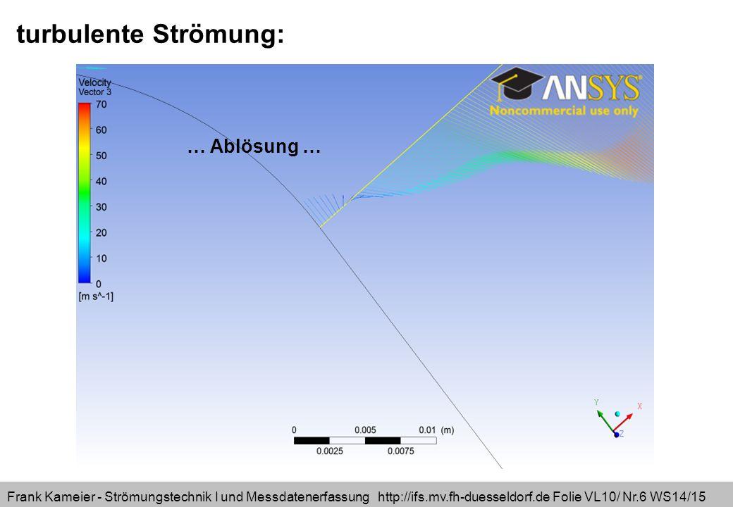 Frank Kameier - Strömungstechnik I und Messdatenerfassung http://ifs.mv.fh-duesseldorf.de Folie VL10/ Nr.6 WS14/15 turbulente Strömung: … Ablösung …
