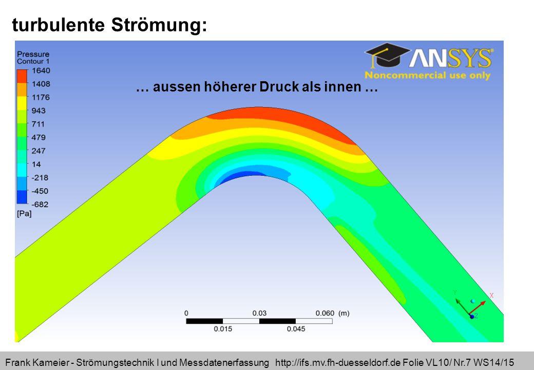 Frank Kameier - Strömungstechnik I und Messdatenerfassung http://ifs.mv.fh-duesseldorf.de Folie VL10/ Nr.7 WS14/15 turbulente Strömung: … aussen höherer Druck als innen …