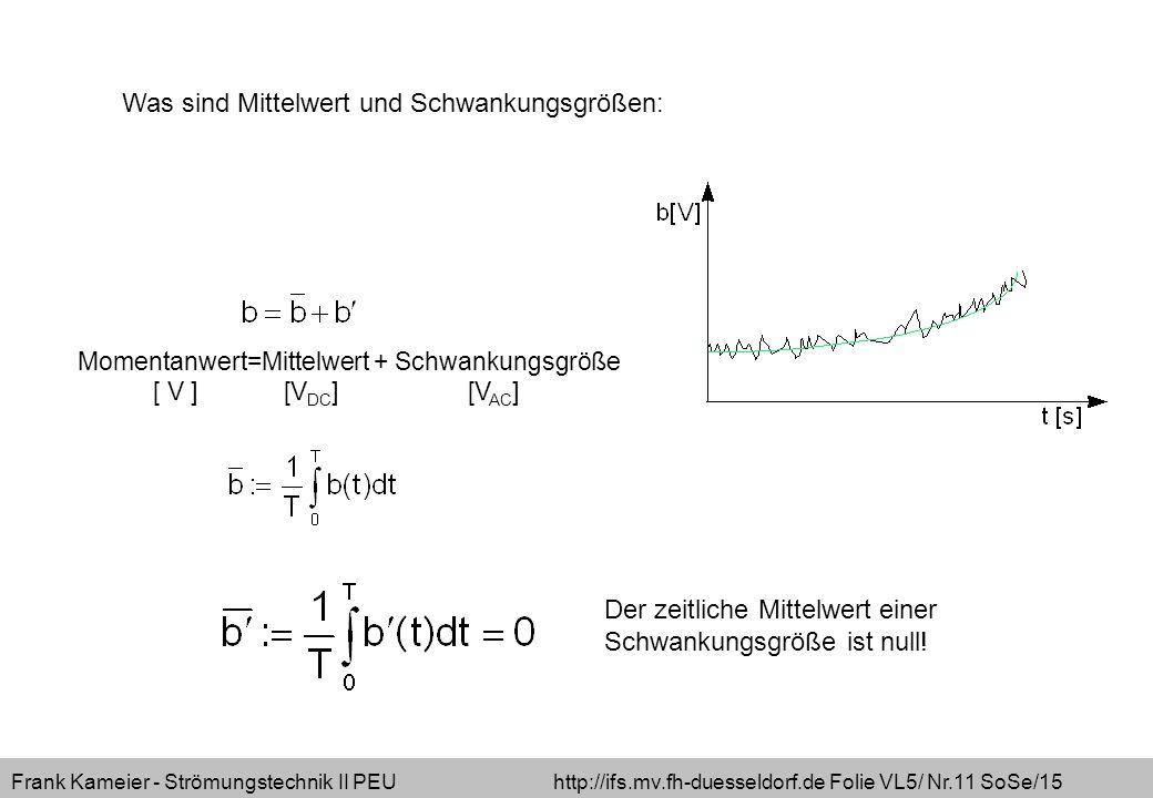 Frank Kameier - Strömungstechnik II PEU http://ifs.mv.fh-duesseldorf.de Folie VL5/ Nr.11 SoSe/15 Momentanwert=Mittelwert + Schwankungsgröße [ V ] [V D