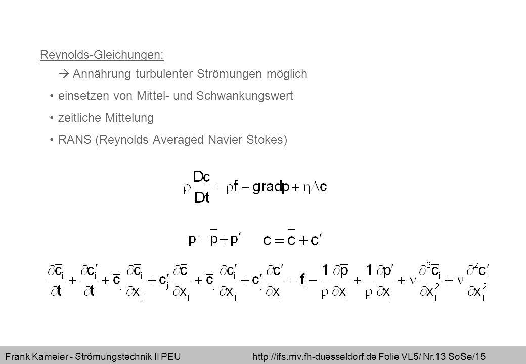 Frank Kameier - Strömungstechnik II PEU http://ifs.mv.fh-duesseldorf.de Folie VL5/ Nr.13 SoSe/15 Reynolds-Gleichungen:  Annährung turbulenter Strömun
