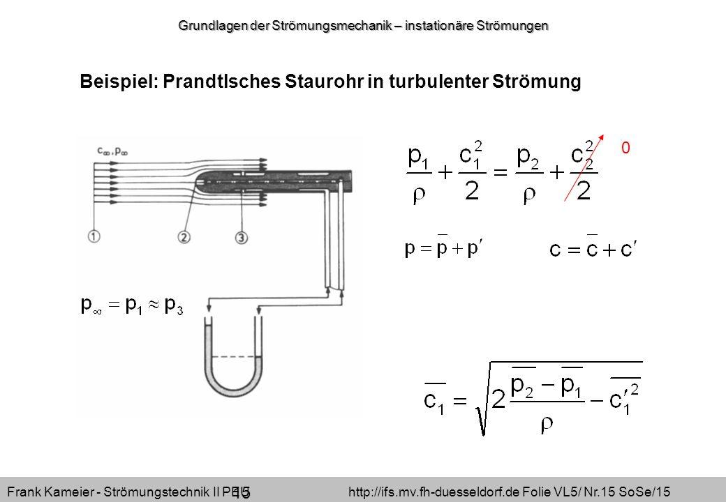 Frank Kameier - Strömungstechnik II PEU http://ifs.mv.fh-duesseldorf.de Folie VL5/ Nr.15 SoSe/15 Beispiel: Prandtlsches Staurohr in turbulenter Strömu