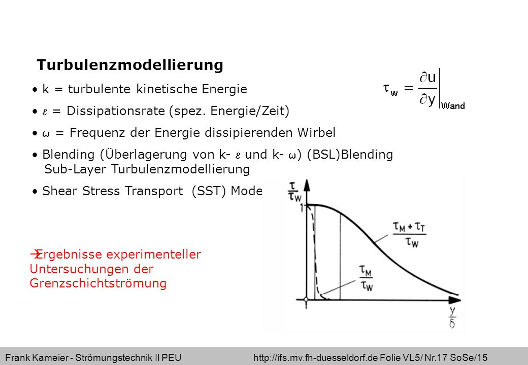 Frank Kameier - Strömungstechnik II PEU http://ifs.mv.fh-duesseldorf.de Folie VL5/ Nr.17 SoSe/15 Turbulenzmodellierung k = turbulente kinetische Energ