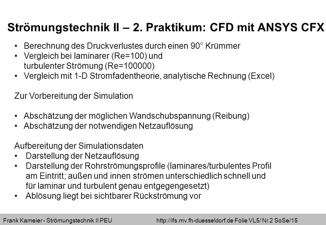 Frank Kameier - Strömungstechnik II PEU http://ifs.mv.fh-duesseldorf.de Folie VL5/ Nr.13 SoSe/15 Reynolds-Gleichungen:  Annährung turbulenter Strömungen möglich einsetzen von Mittel- und Schwankungswert zeitliche Mittelung RANS (Reynolds Averaged Navier Stokes)