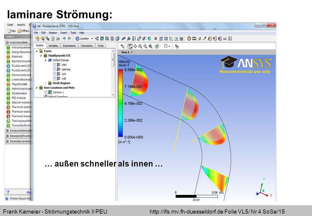 Frank Kameier - Strömungstechnik II PEU http://ifs.mv.fh-duesseldorf.de Folie VL5/ Nr.5 SoSe/15 turbulente Strömung: … innen schneller als außen + Ablösung …