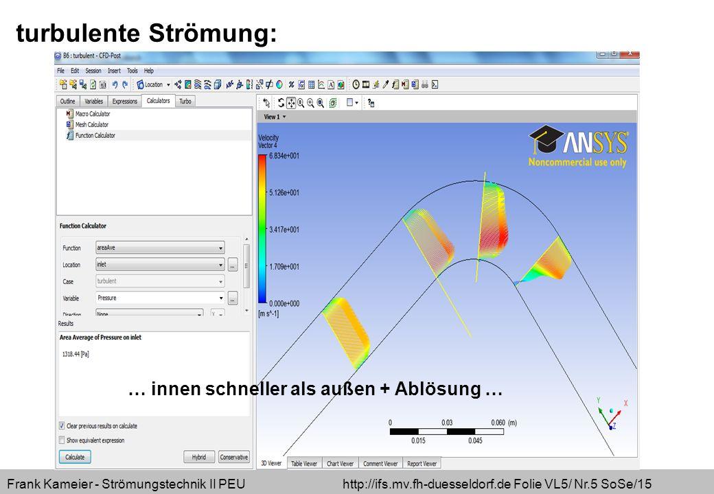 Frank Kameier - Strömungstechnik II PEU http://ifs.mv.fh-duesseldorf.de Folie VL5/ Nr.26 SoSe/15 Abschätzung der Netzabmessung - über empirisch ermittelte Gleichung für die Wandschubspannung - (siehe auszufüllende Excel-Tabelle) C_f=(2*LOG10(U*x/nue)-0,65)^-2,3 Tau_w=c_f/2*rho*U^2 oder aus Schade/Kunz Formel (13.6-12) Tau_w=0,0289*rho*nue^(1/5)*U^(9/5)*x^(-1/5) … mit y + =1 wird kleinster Wandabstand abgeschätzt – das bedingt die Verwendung des SST-Modells, andere Modelle benötigen y + =2,5…10.