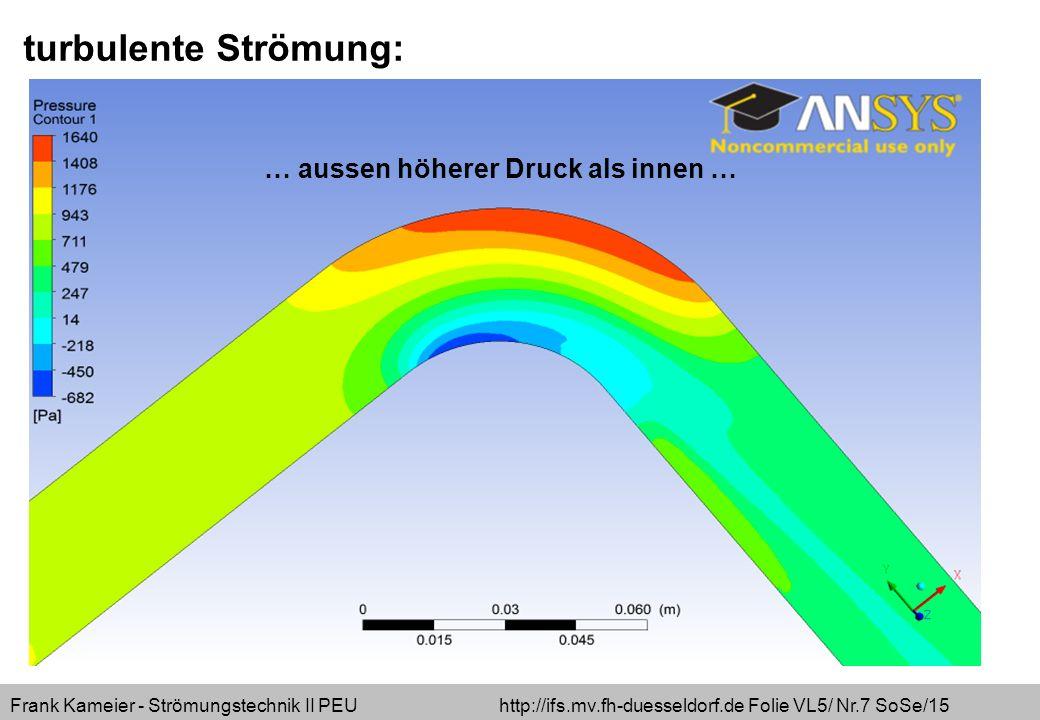 Frank Kameier - Strömungstechnik II PEU http://ifs.mv.fh-duesseldorf.de Folie VL5/ Nr.7 SoSe/15 turbulente Strömung: … aussen höherer Druck als innen