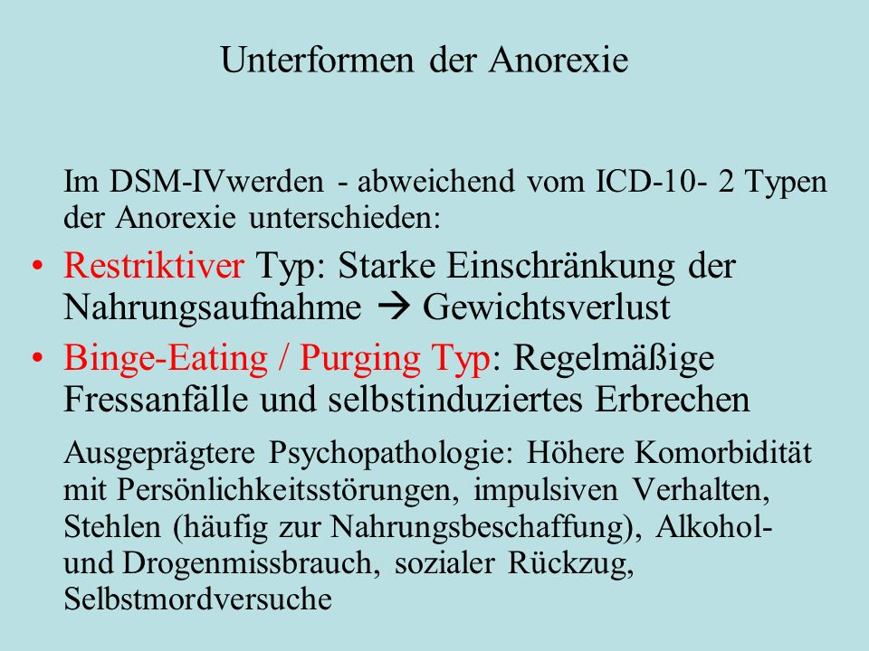 Unterformen der Anorexie Im DSM-IVwerden - abweichend vom ICD-10- 2 Typen der Anorexie unterschieden: Restriktiver Typ: Starke Einschränkung der Nahru