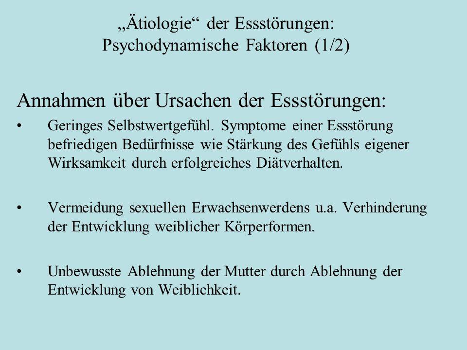 """""""Ätiologie"""" der Essstörungen: Psychodynamische Faktoren (1/2) Annahmen über Ursachen der Essstörungen: Geringes Selbstwertgefühl. Symptome einer Essst"""